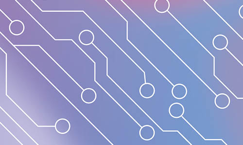An abstract circuit board overlaid on a pink and blue gradient background.